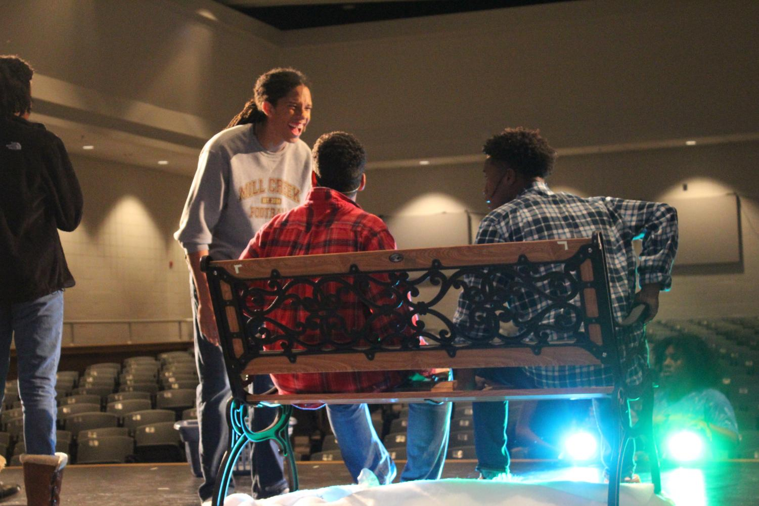 The cast rehearsing their production of