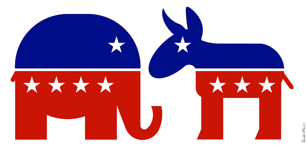 Symbol for the Republican Party (left) and symbol for the Democratic Party (right).