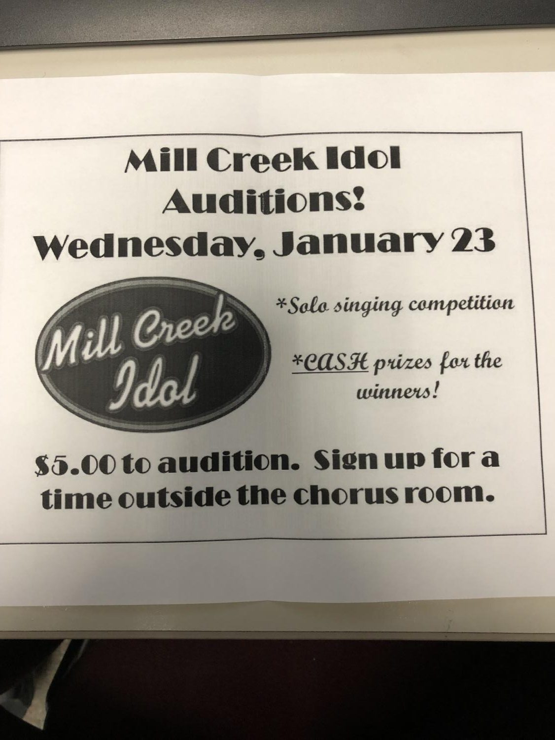 Mill Creek Idol Flyer.
