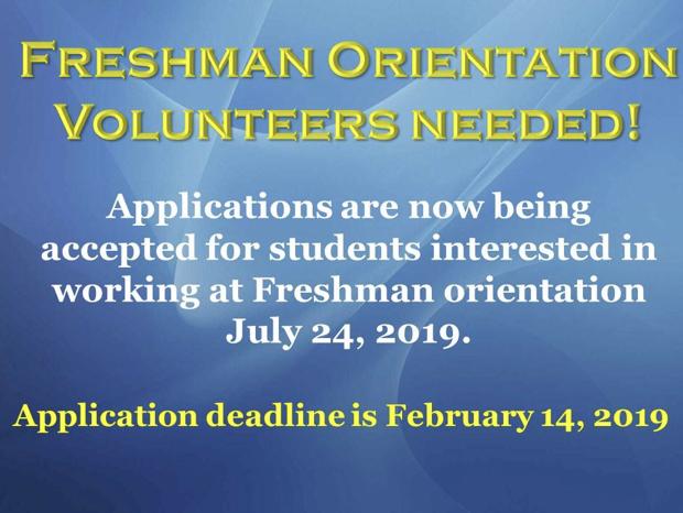 Freshman Orientation Volunteers Needed