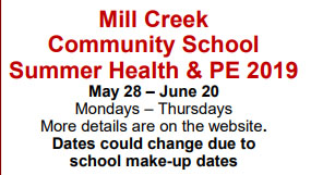 Mill Creek Summer Health and PE