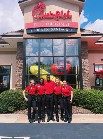 Several Chick-fil-A employees from the Hamilton Mill location