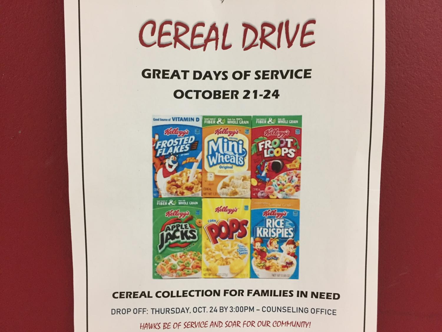 Mill Creek Cereal Drive poster advertised on bulletin board outside of C100 hallway