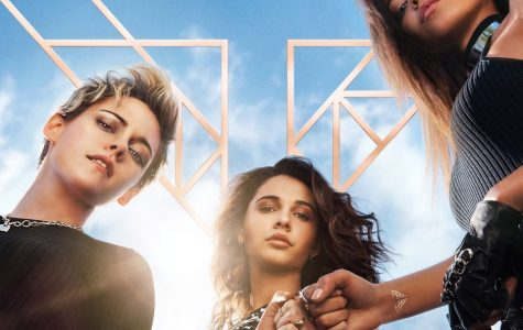 The official cover for the movie, featuring the lead actresses, Kristen Stewart, Naomi Scott, And Ella Balinska.
