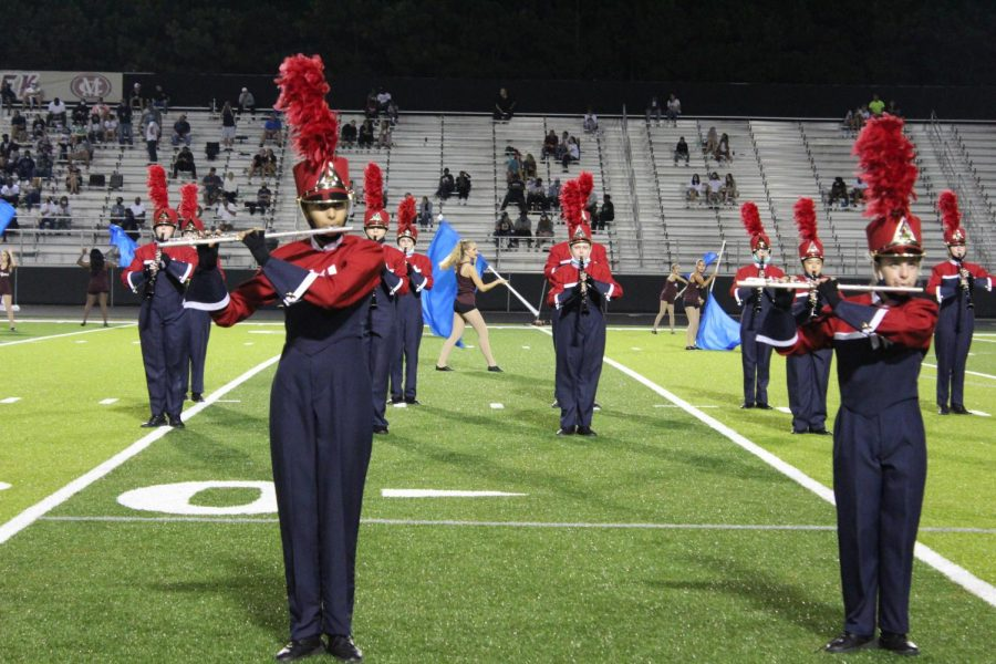 Marching band performing during halftime on Sep. 18.