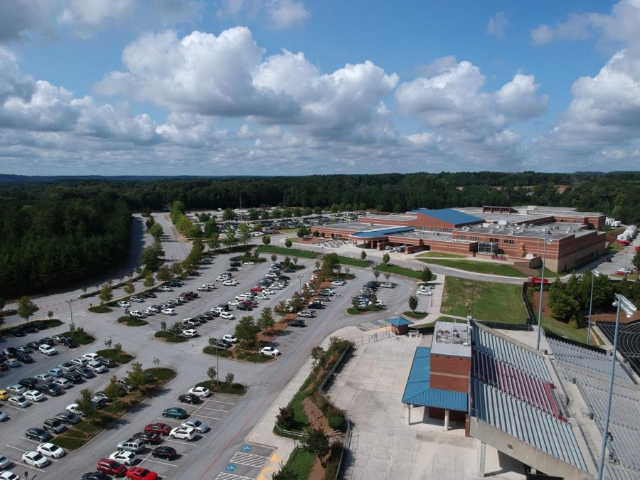 Mill Creek student parking lot during school hours.