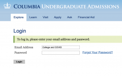 Columbia University Application Portal Page