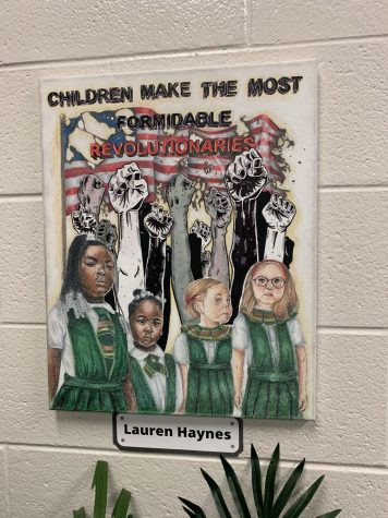 Artwork by Lauren Haynes that is a part of the school library