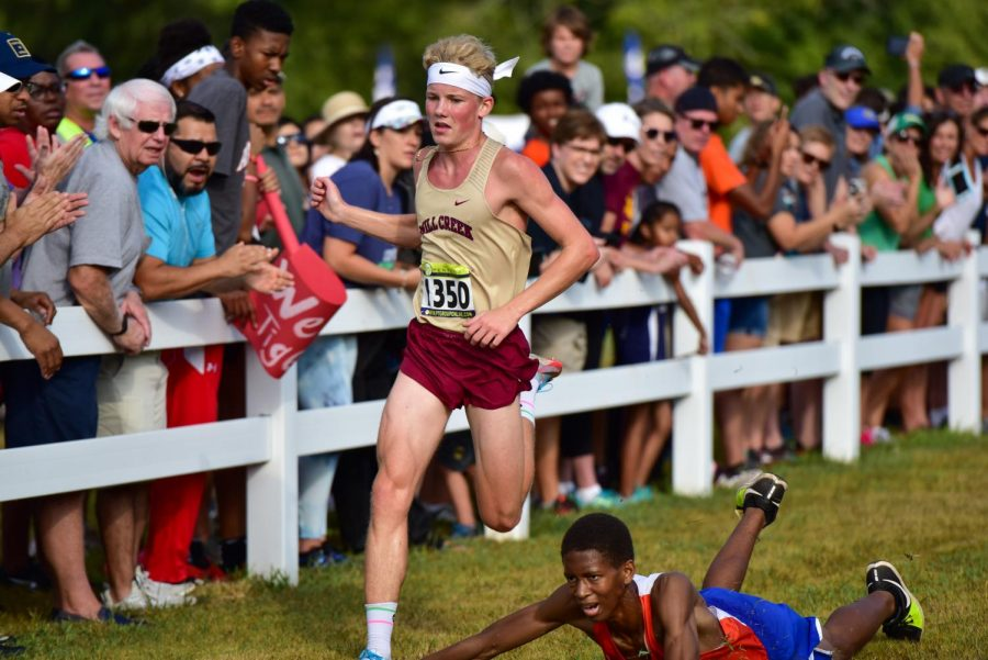 Ethan Nordman nears the finish line at the Gwinnett County Cross Country Championships.